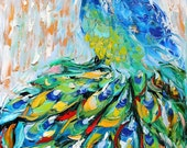 Fine art Print - Peacock - made from image of oil painting by Karen Tarlton impressionistic palette knife fine art