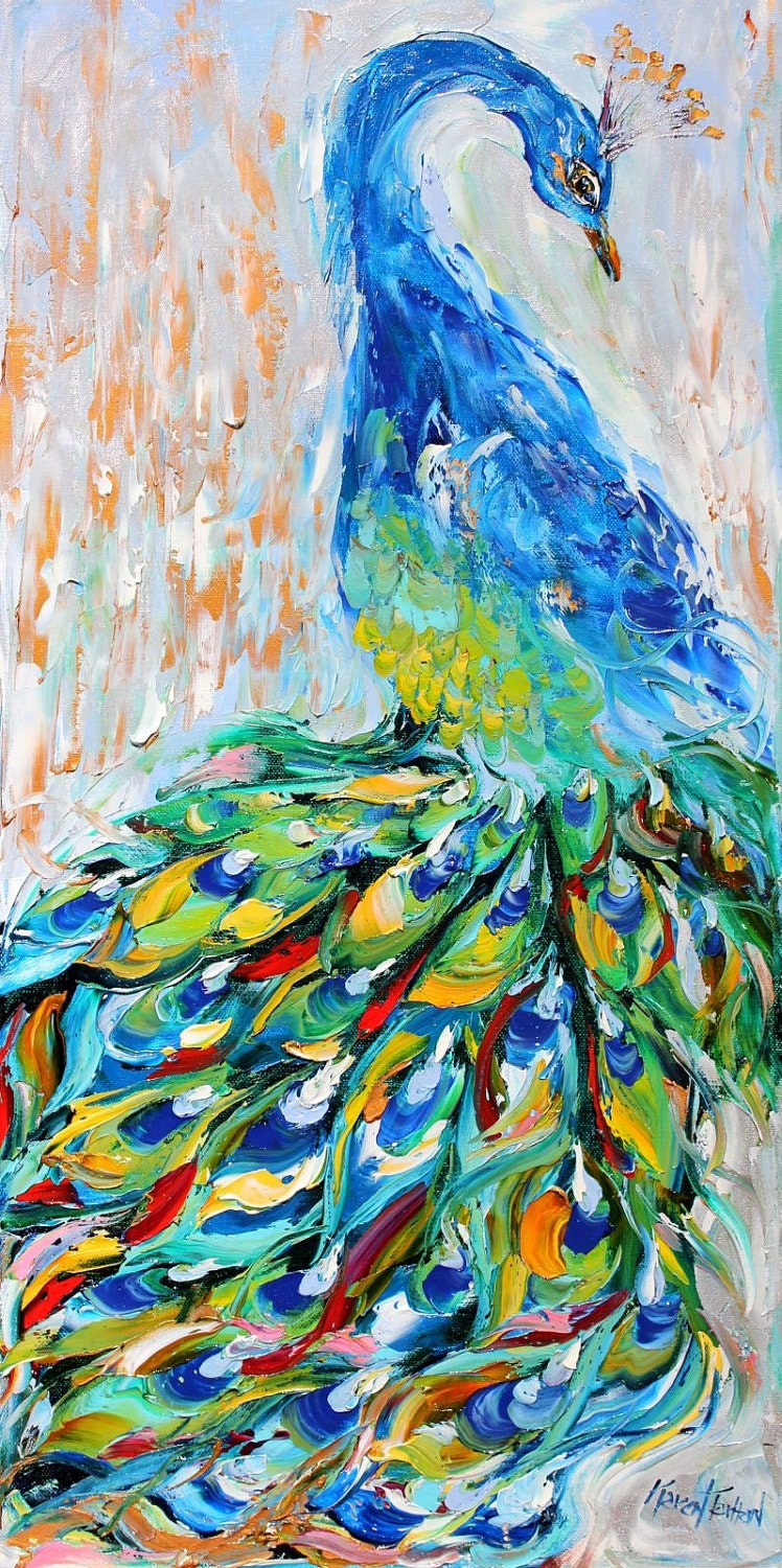 Fine art Print Peacock made from image of oil painting by