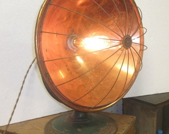 Recycled Upcycled Retro table light out of old electric heating unit. vintage, steam punk, re purposed