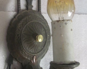 Antique solid brass decorated wall sconce vintage rewired architectural salvage lighting