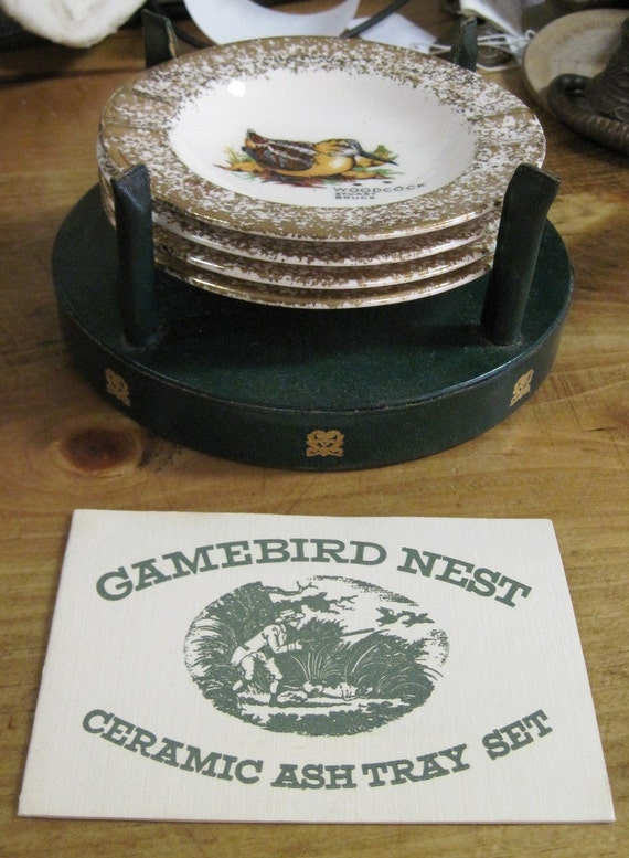 Vintage gamebird ashtray set great gift for dad