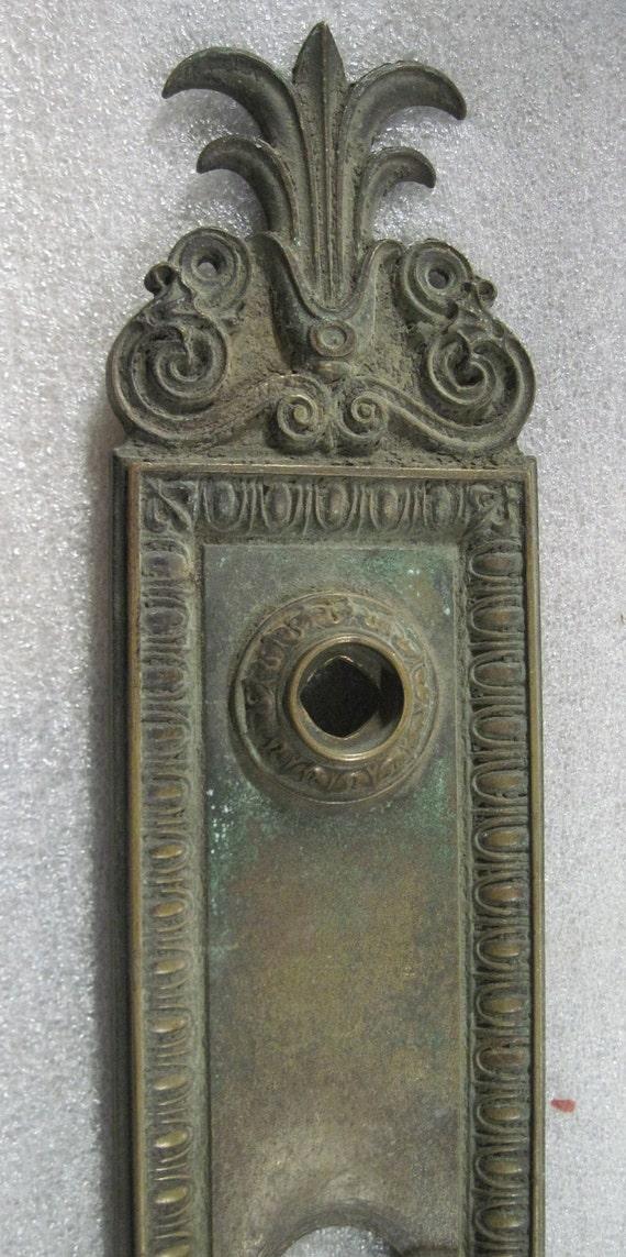 """15"""" X 3 1/4"""" fancy cast brass front door entry plate folk art feel vintage antique"""