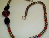 Black Onyx, Copper Glass Beads and Red Crystal Necklace and Free Bracelet and Earrings