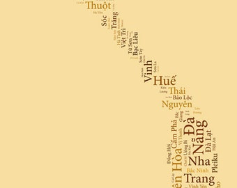 "SALE: Vietnam Typography Map Art Print - 13 x 19"" // additional sizes available"