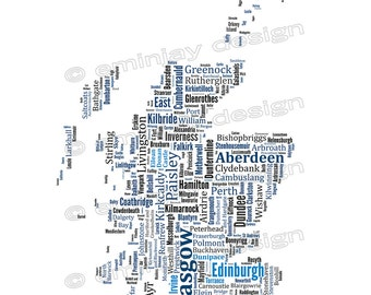 """SALE: Scotland Typography Map Art Print Poster - 13 x 19"""" // additional sizes available"""