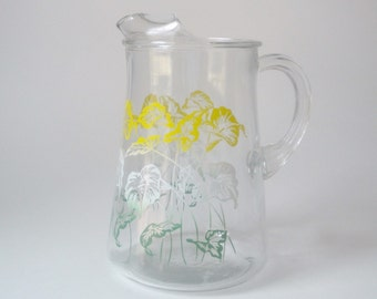 Vintage Clear Glass Pitcher with Yellow Green and White Floral Design