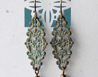 Amethyst & Verdigris Patina Earrings