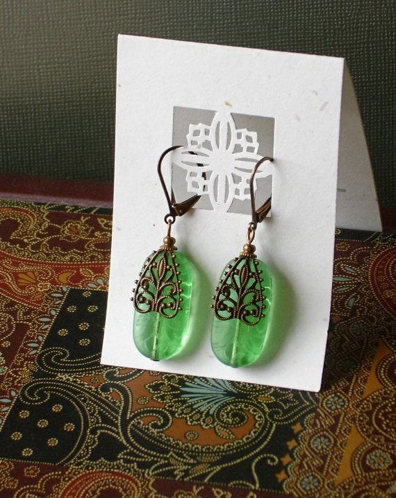 Etched Depression Glass Green Earrings