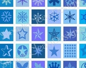 Snowflakes Digital Collage Sheet Squares Christmas no.14