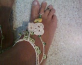 Lime, Cream and yellow Barefoot wedding beach,  Sandals, shoes