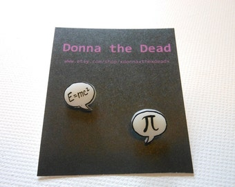 einstein and pi speech bubble earrings