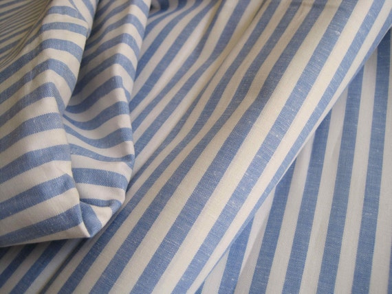Unused extra wide vintage French blue and white striped cotton fabric - sold by the 22 inch piece