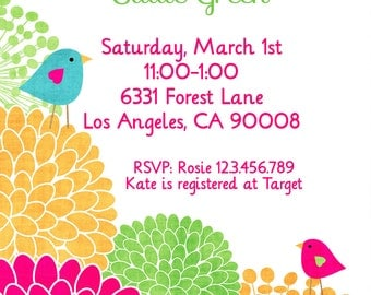 Baby Girl Shower Invitation - Shower Invitation with Birds and Flowers - Digital File
