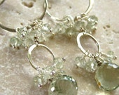 Long Green Amethyst Earrings Sterling Silver Prasiolite Gemstone