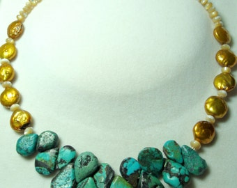 Turquoise Necklace Genuine Rough Raw Turquoise Teardrops and Bronze Coin Pearl Necklace with Sterling