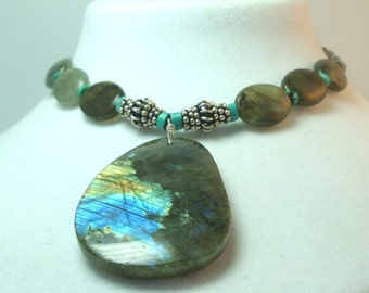 Labradorite Necklace Labradorite Spectrolite (Rare) Pendant and Necklace w Turquoise and Sterling