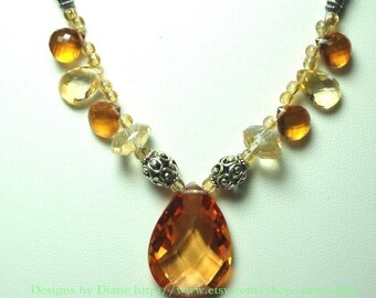 Golden Yellow Citrine and Lemon Quartz Necklace with Sterling Bali beads and Toggle Closure