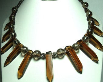 Smoky Quartz Necklace Smoky Quartz Crystal Point Necklace Cleopatra Fan Collar Statement Necklace with Sterling