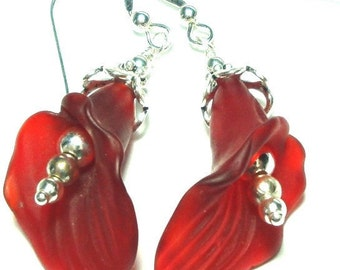 Red Quartz Lily Earrings Carved Red Quartz Lily Earrings in Sterling