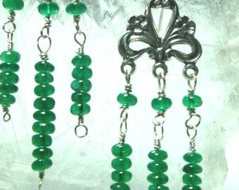 Emerald Earrings Elegant Genuine Emerald Rondell Jeweled Chandelier Earrings High Quality Emerald Gemstone Earrings in Solid Sterling