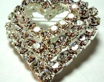 Heart Pin Heart Rhinestone Brooch Vintage 3 Rows of Sweetheart Rhinestones Heart Brooch Pin