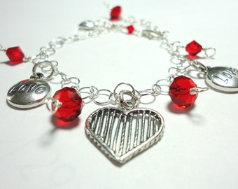 Sterling Heart Charm Bracelet w Sweet Hearts Love Charms and Red Crystals In Solid Sterling Bracelet w Adjustable Clasp
