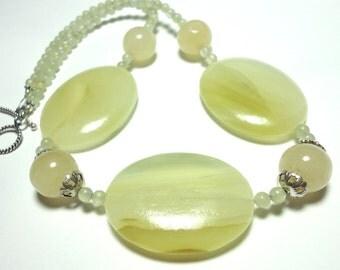 Olive Jade Bold Oval Gemstone Necklace Pale Olive Green Serpentine Jade Gemstone Necklace with Sterling