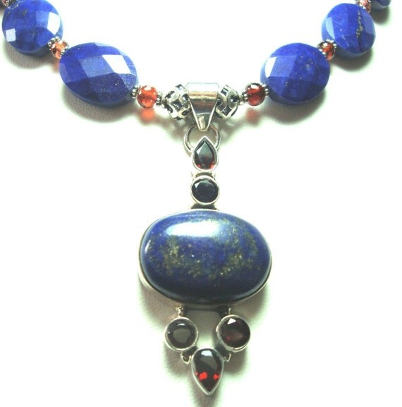 AAA Quality Lapis and Garnet Pendant and Lapis and Garnet Bead Necklace Royal Blue Lapis with Garnets Pendant and Necklace In Sterling