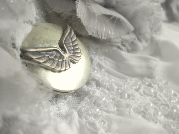 Angel Wings, A very special authentic aged vintage locket with brass angel wings necklace, your secret treasure inside
