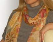 Hand painted Silk scarf, wrap-Flowers-L gifts