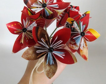 Red Paper Flower Bouquet - Upcycled, Recycled and Eco Friendly