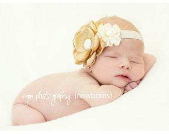 Baby Headband - Baby Flower Headband - Flower Girl Headband - Newborn Headband - Baby Beige Flower Headband