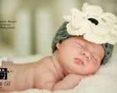 Newborn Baby HAT in Gray Photo Prop, Gift Baby Hat, Newborn Hat, Baby Flower Hat, Gift Neborn Hat, Bay Shower Gift Hat photoprop all Babies