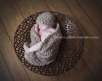 HAT and Cocoon Cozy Newborn Set Baby Photo Prop in Smoky Beige Photography Set 2pcs All Babies Infant Girl Boy Photo Shoot Available colors