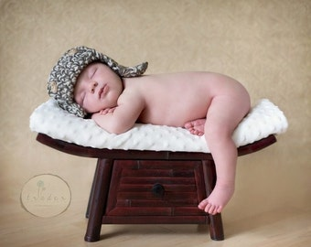 The Lumberjack Hat Newborn Baby Photo prop in BROWNS - Photography Baby Hat Handmade by MaryYarns