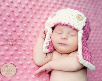 Aviator Set Hat and Diaper Cover Newborn Photo prop in Pink / Photo Shoot All babies 2pc / Aviator Flyer Bomber Pilot Hat infants girl boy