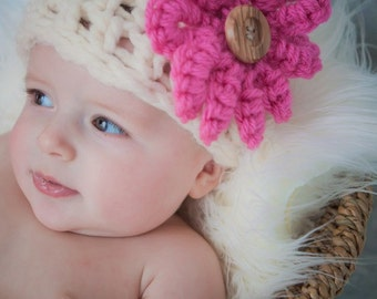 Chunky Beanie HAT with Flower PHOTOGRAPHY Newborn All Babies Photo prop Infant Girl Boy Photo Shoot available more colors Photo Session Baby