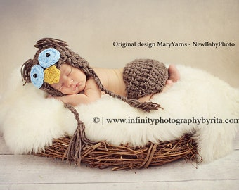 OWL Hat Blue Eyes Newborn Baby Photo Prop - Photography Hat & diaper cover / Photo shoot crochet Baby Hat / Gift Newborns Owl Baby Hat