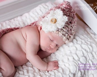 ELF Baby Hat Photo prop, Baby Hat w/flower, Photography Baby Hat Photo Prop, Photo Shoot Baby Hat Ready to ship, GIFT New Baby Shower Hat