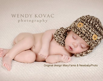Lumberjack Hat Newborn Baby Photo prop in BROWNS - Photography Session Baby Hat