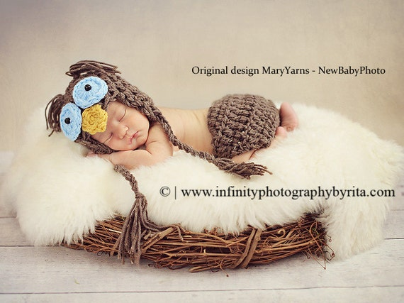 OWL HAT Blue Eyes / Newborn Baby Owl Hat Photo Prop / Photography Owl Hat and diaper cover / Owl Hat / Gift New Baby Photo Hat and diaper C.