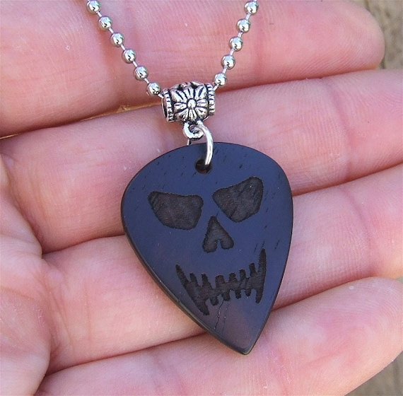 Premium Wood Guitar Pick Necklace - Handmade with Exotic Desert Ironwood - The Ironwood Skull