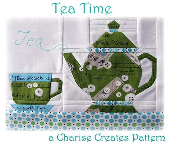 Tea Time Paper Pieced Pattern, Teapot and Teacup