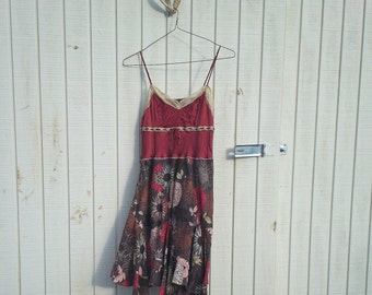 Upcycled Dress, Burgundy, Wine, Silk, Tank Dress, Reclaimed Dress, Summer Dress, Floral Tunic, Lace Tank, Sprint Tunic, Bohemian Dress