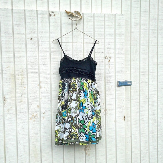 Funky black Babydoll Tank Dress / Eco Dress / Tattered Artsy Dress / Upcycled Clothing