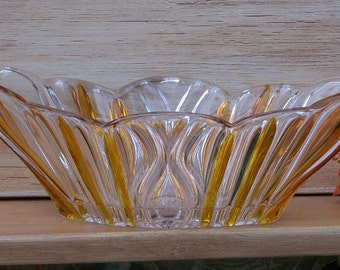 Vintage Glass Candy Dish - Fall Decor, Flower Vase, Wedding Decor