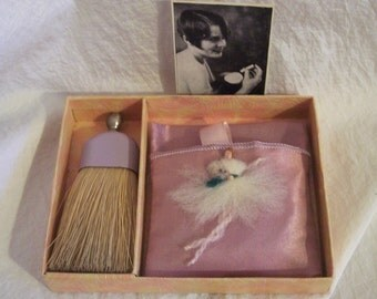 Antique 1940s Powder Puff Clothes Brush Art Deco Flapper Boudoir Figural Lady Vanity Set Original Box Purple Lavender Picture Brochure Paper