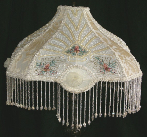 Victorian Beaded Embroidered Embroidery Boudoir Table Lamp Shade with Bead Fringe