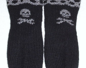 Gothic  Halloween Socks and Free Gift with Skull and Crossbones,  grey hand embroidered design.   Hand knit. Ready to ship.
