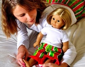 Christmas Pajamas. American Girl Matching Pajama Pant Set for Girl and Doll. Sizes 2T-12. Flannel pants
